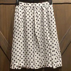Modcloth black polka dot, A line skirt, Sz M